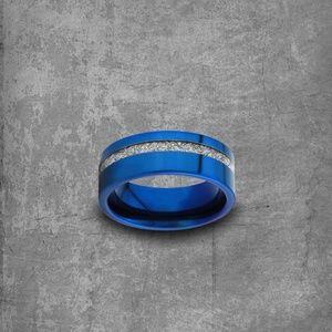 Blue Meteorite Ring: Blue Stacking Ring| Tungsten